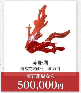 赤珊瑚 通常買取価格 40万円 宝石珊瑚なら 500,000円