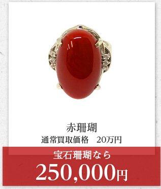 赤珊瑚 通常買取価格 20万円 宝石珊瑚なら 250,000円