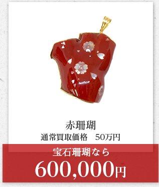 赤珊瑚 通常買取価格 50万円 宝石珊瑚なら 600,000円